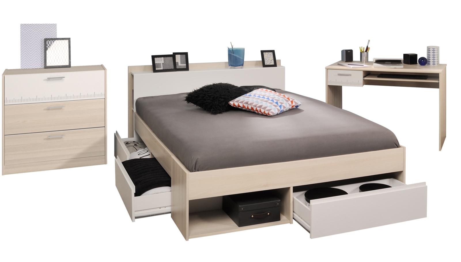 3 Teiliges Jugendzimmer Set Most 59 Akazie Weiß Kommode 140x200 Cm