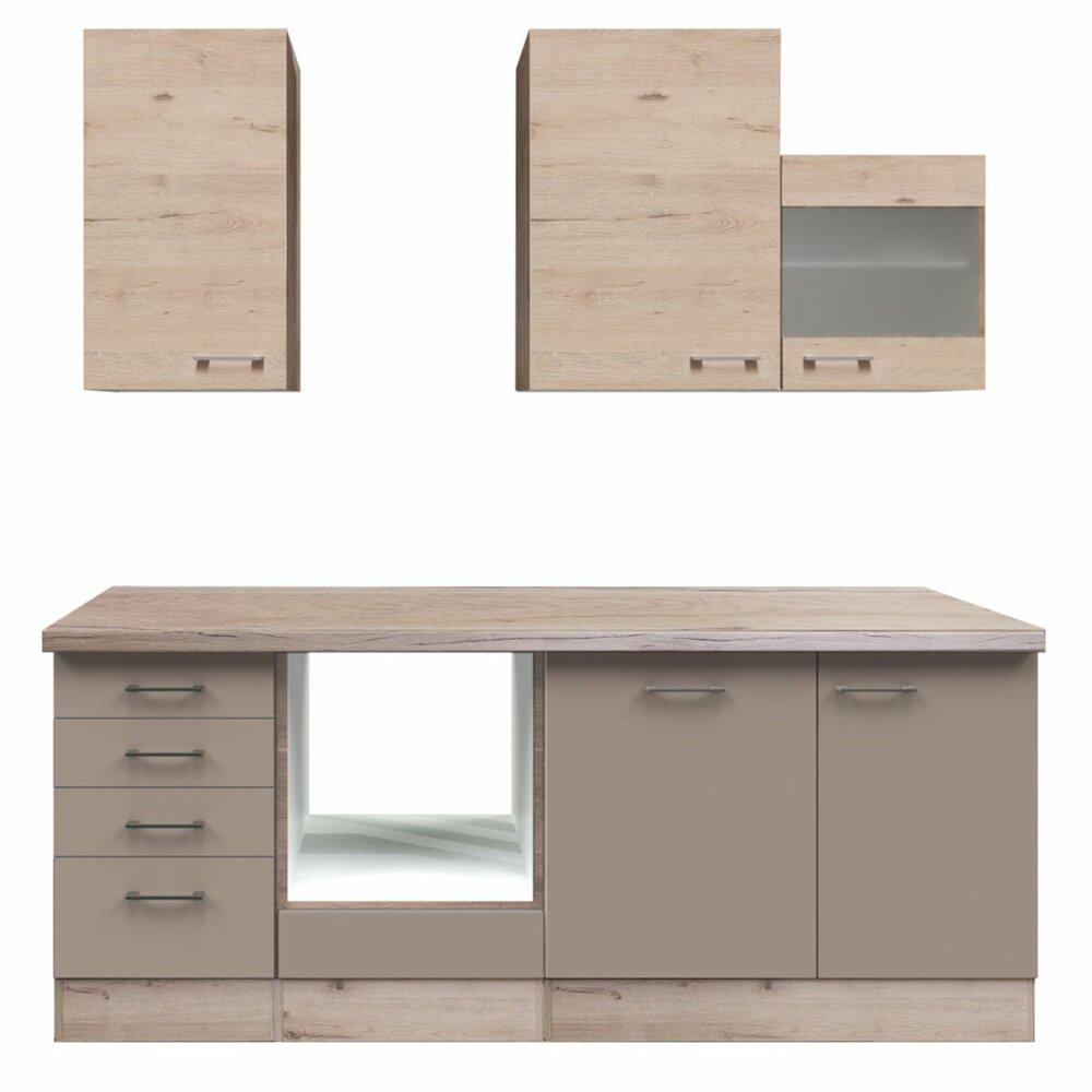 k chenblock riva quarz cubanit san remo eiche 220 cm k chenzeilen ohne e ger te. Black Bedroom Furniture Sets. Home Design Ideas