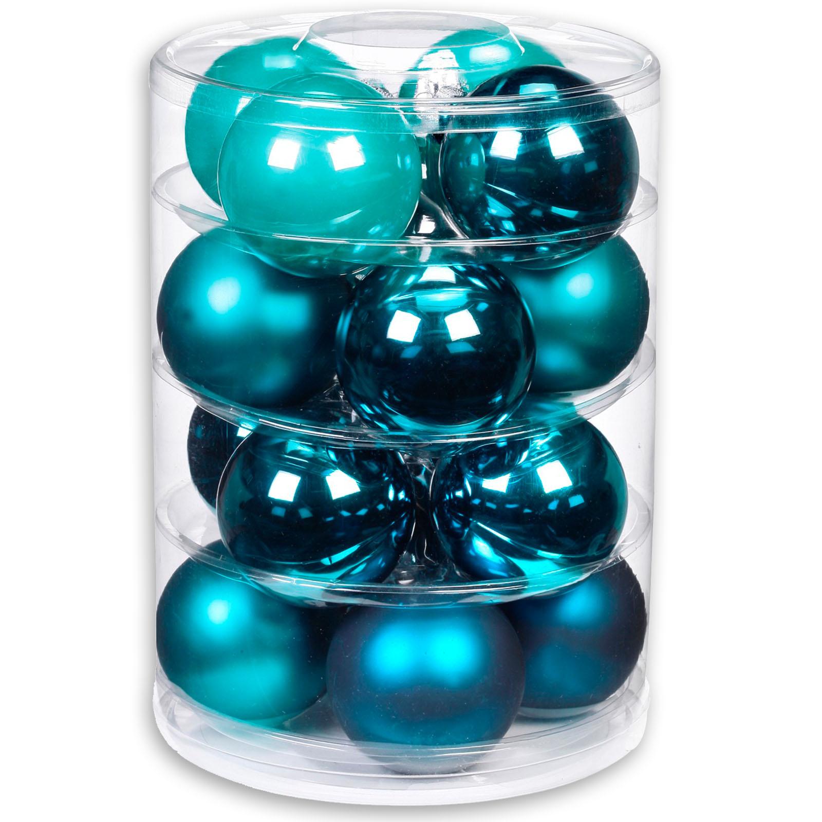 Material Christbaumkugeln.Christbaumkugeln Turkis Petrol Glas 16 Stuck 7 5 Cm
