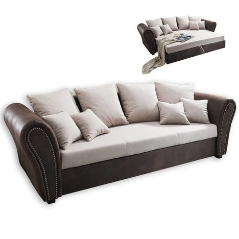 big sofa beige braun mit liegefunktion big sofas sofas couches m bel roller. Black Bedroom Furniture Sets. Home Design Ideas