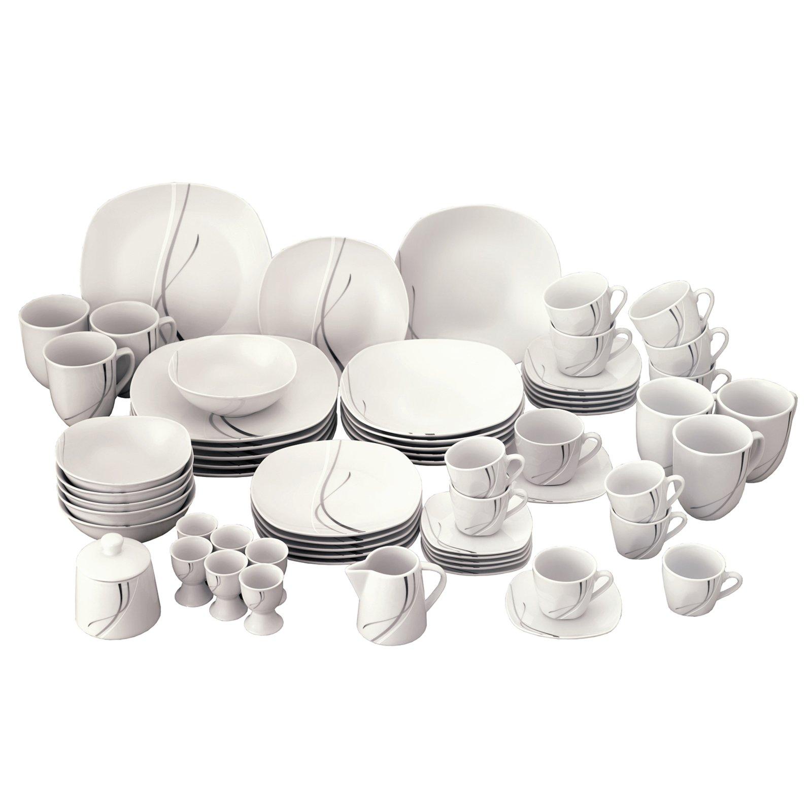 62 teiliges porzellan tafelservice silver night geschirr. Black Bedroom Furniture Sets. Home Design Ideas