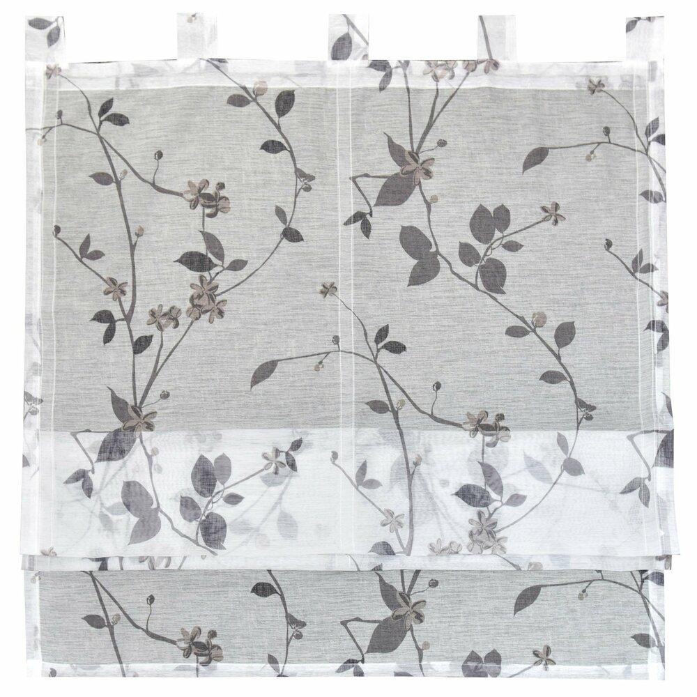raffrollo roma wei grau mit blumen 80x140 cm. Black Bedroom Furniture Sets. Home Design Ideas