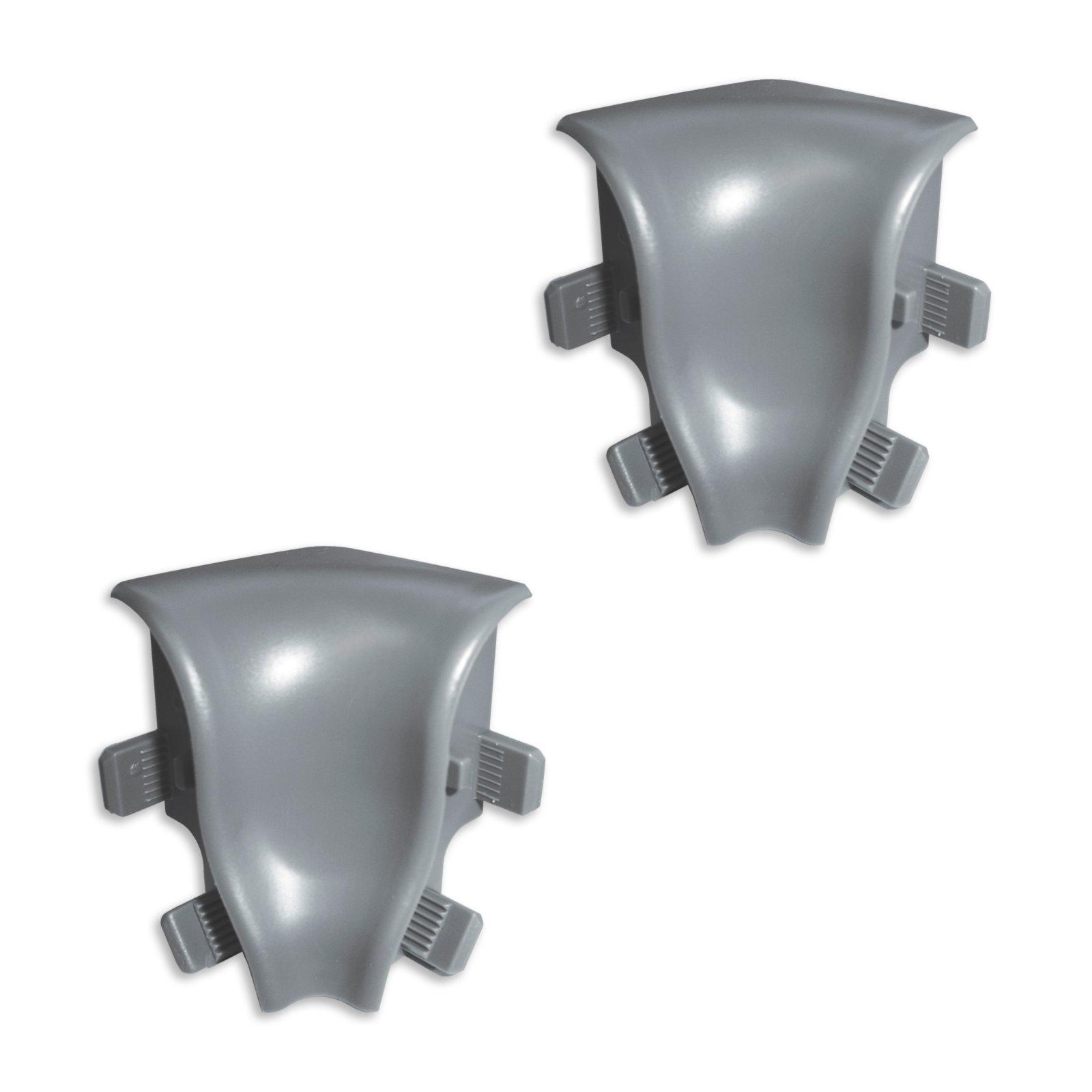 2 Innenecken K40 - silber dunkel - für Sockelleisten - 40x22 mm