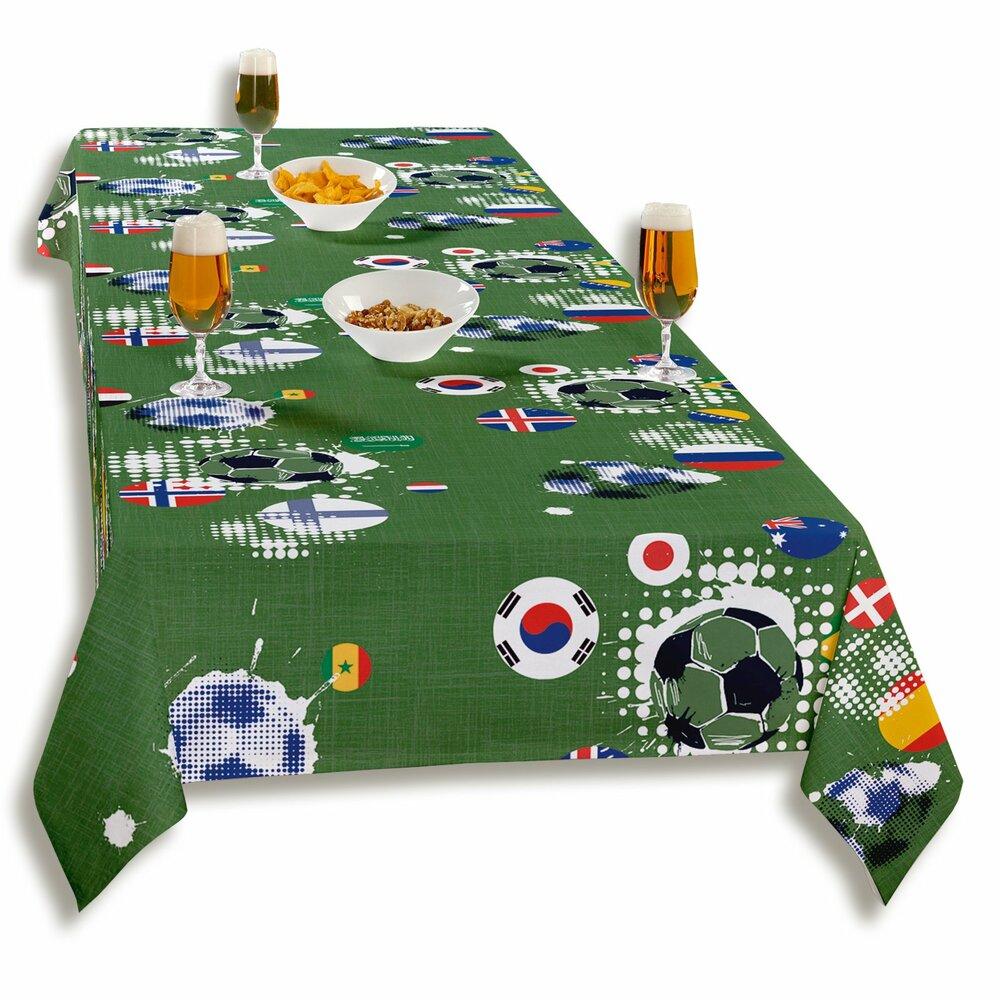tischdecke gr n fu ball 140 cm breit tischdecken tischl ufer heimtextilien deko. Black Bedroom Furniture Sets. Home Design Ideas