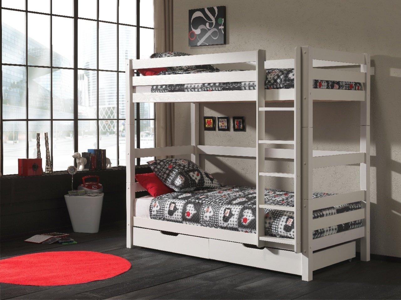 Etagenbett Weiß 90x200 : Kinder hochbett in weiss mit schubladen und viel stauraum