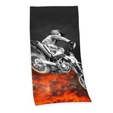 Badetuch MOTORCROSS - schwarz-orange - 75x150 cm