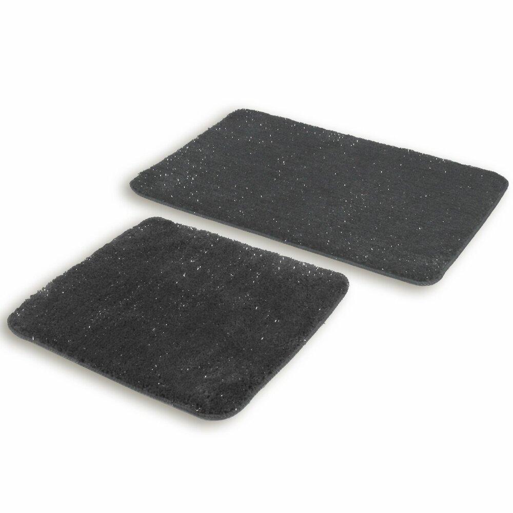 badgarnitur wolke anthrazit 2 teilig glitzer badteppiche matten badtextilien. Black Bedroom Furniture Sets. Home Design Ideas