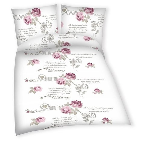 baumwoll bettw sche diary rose 135x200 cm bettw sche bettw sche bettlaken. Black Bedroom Furniture Sets. Home Design Ideas