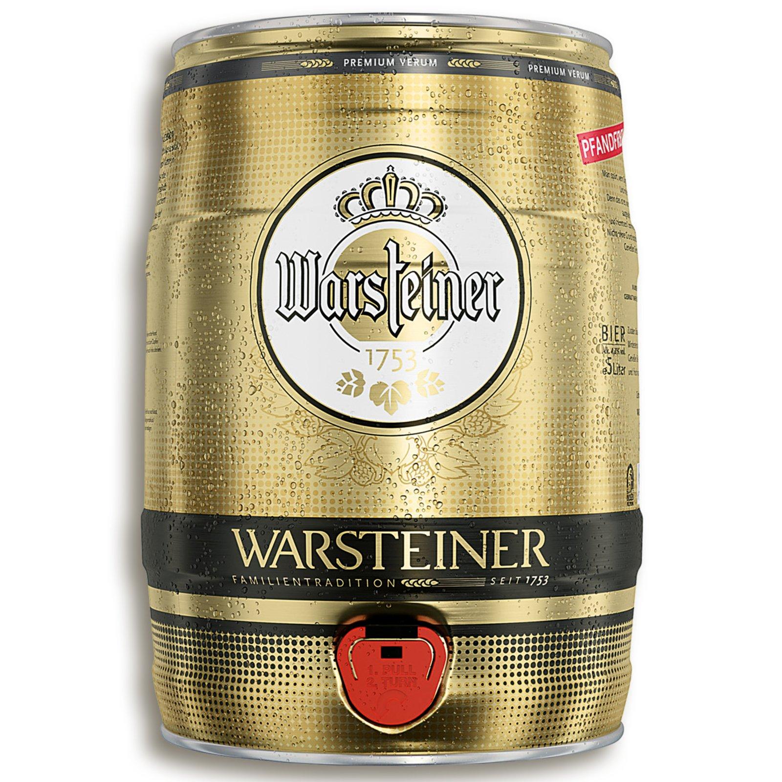 Warsteiner Bierfass - 5 Liter - mit Zapfhahn | Nebensortiment in den ...