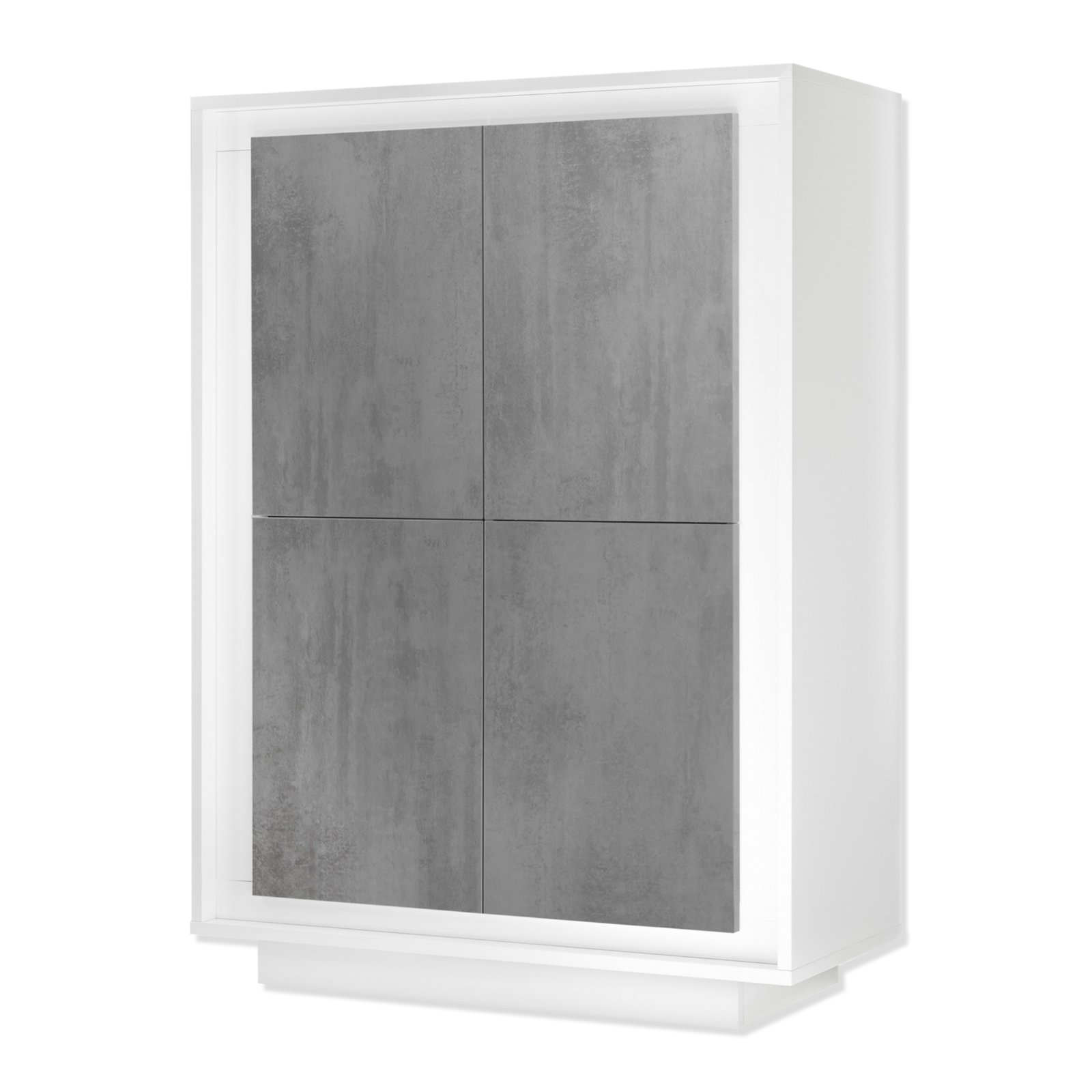 highboard loft wei matt beton optik 106x146 cm kommoden sideboards m bel roller. Black Bedroom Furniture Sets. Home Design Ideas