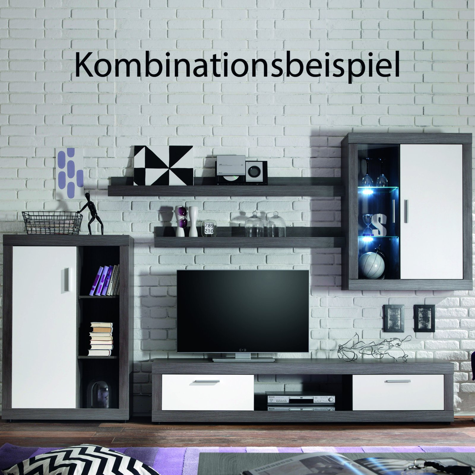 roller wohnwand ocean silbereiche mit led beleuchtung. Black Bedroom Furniture Sets. Home Design Ideas