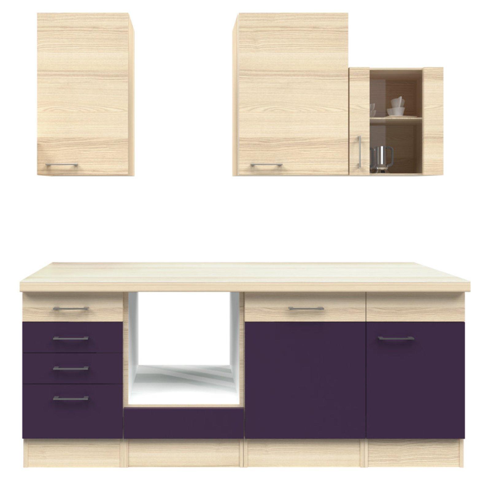 k chenblock focus akazie aubergine 220 cm k chenzeilen ohne e ger te k chenzeilen. Black Bedroom Furniture Sets. Home Design Ideas