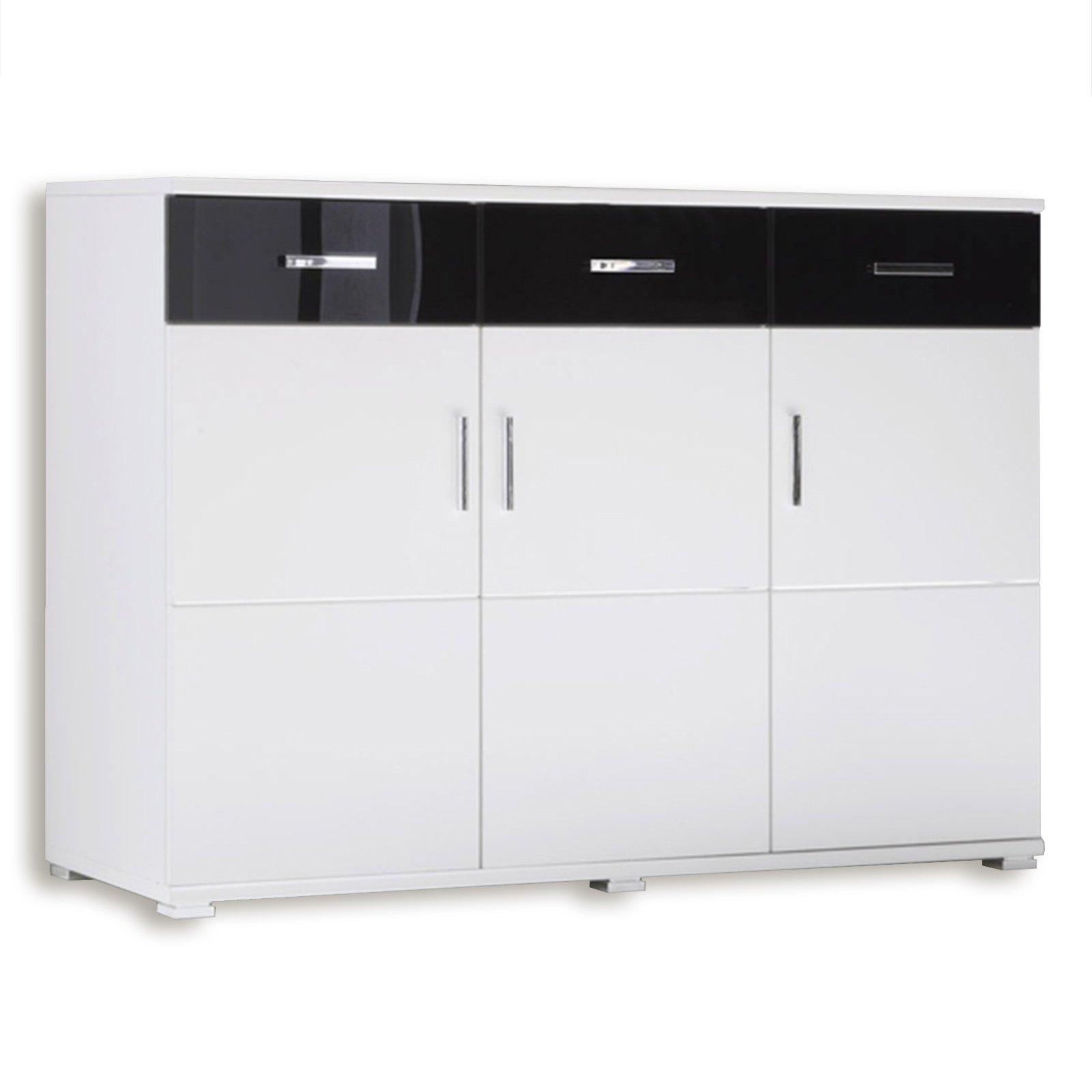 Sideboard libero wei schwarz 128 cm kommoden for Sideboard 3 meter lang