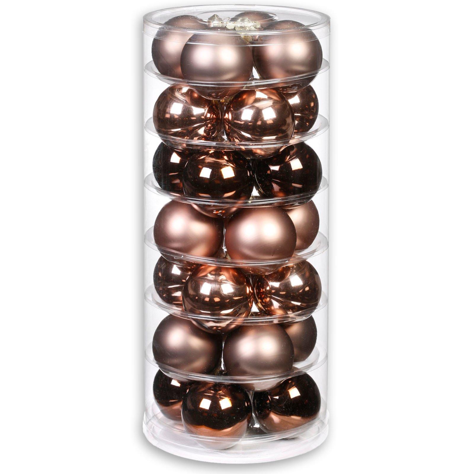 christbaumkugeln beige braun glas 28 st ck 6 cm weihnachtsbaumschmuck. Black Bedroom Furniture Sets. Home Design Ideas