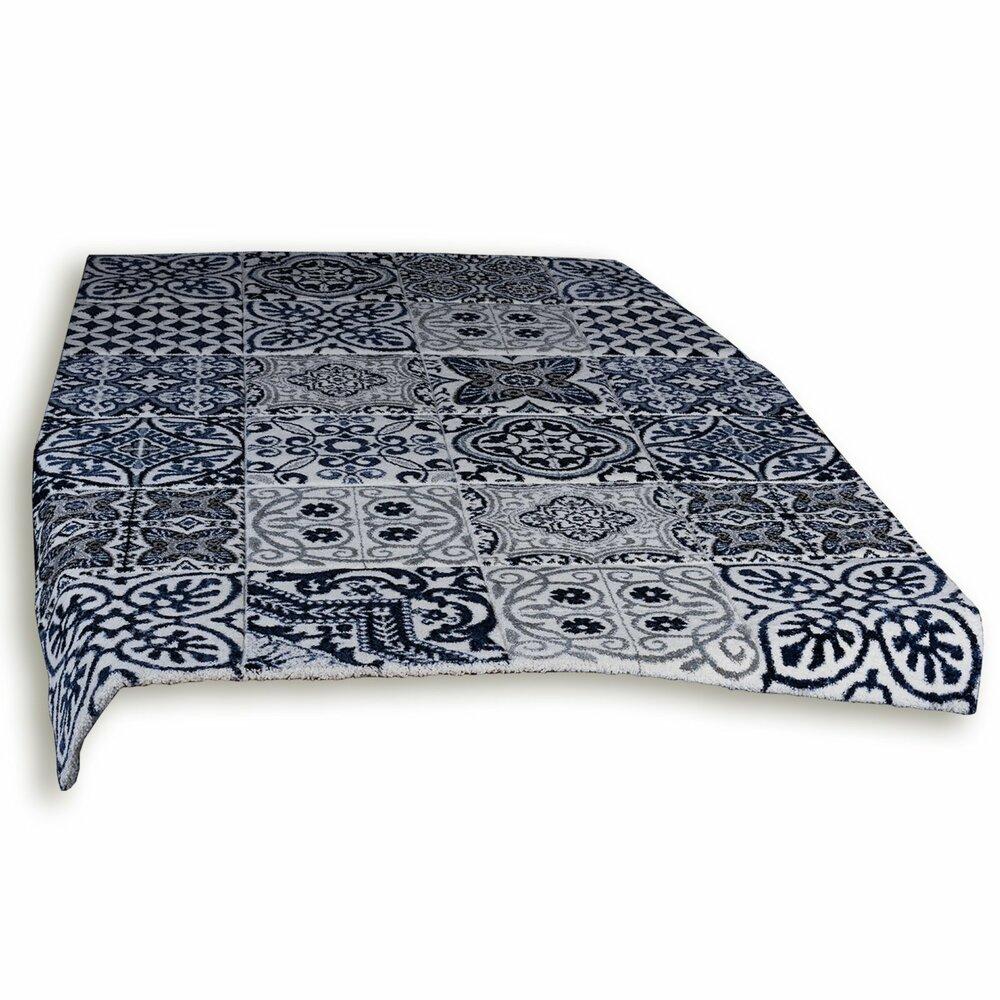 frisee teppich modern blau wei 80x150 cm gemusterte teppiche teppiche l ufer deko. Black Bedroom Furniture Sets. Home Design Ideas