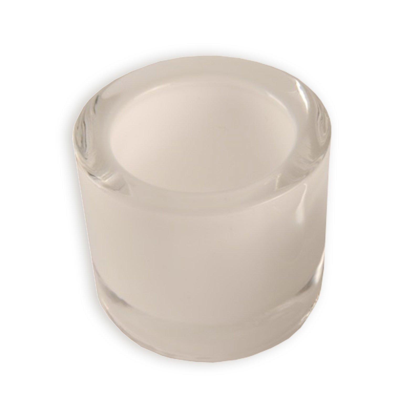 Glas-Windlicht - weiß - Ø 6,5 - 5,7 cm hoch