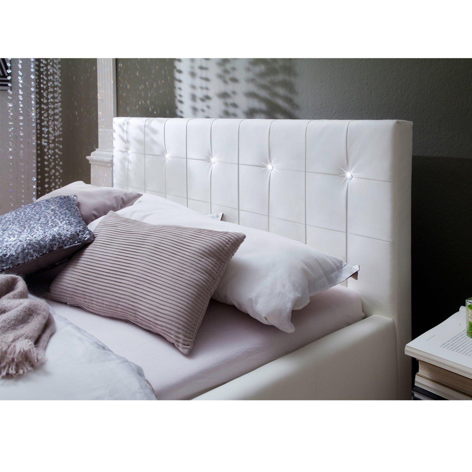 polsterbett cristallo wei mit swarovski kristallen ebay. Black Bedroom Furniture Sets. Home Design Ideas