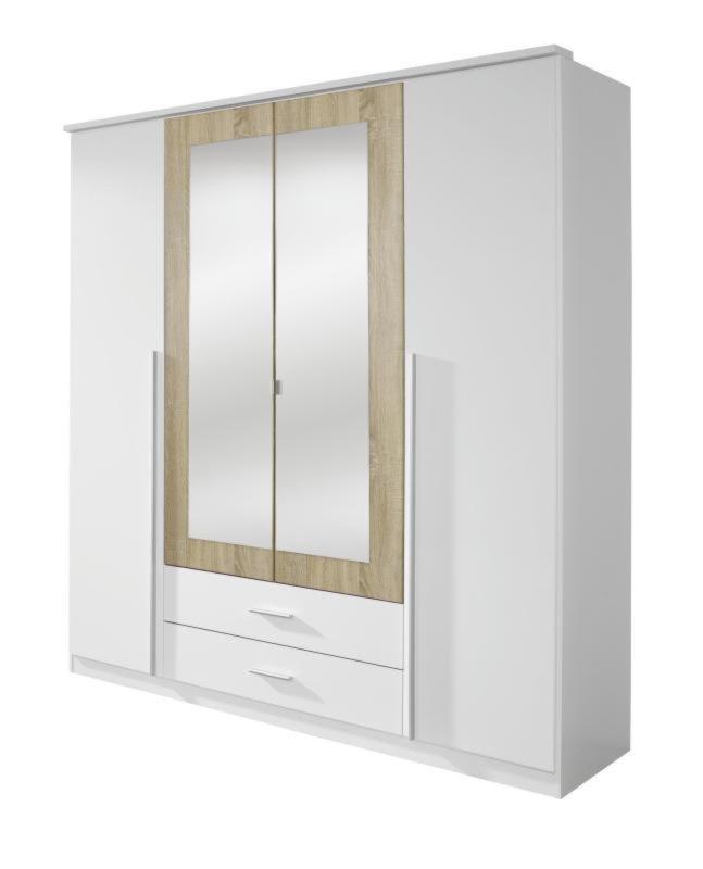 Kleiderschrank KREFELD - weiß-Sonoma Eiche - 181 cm ...