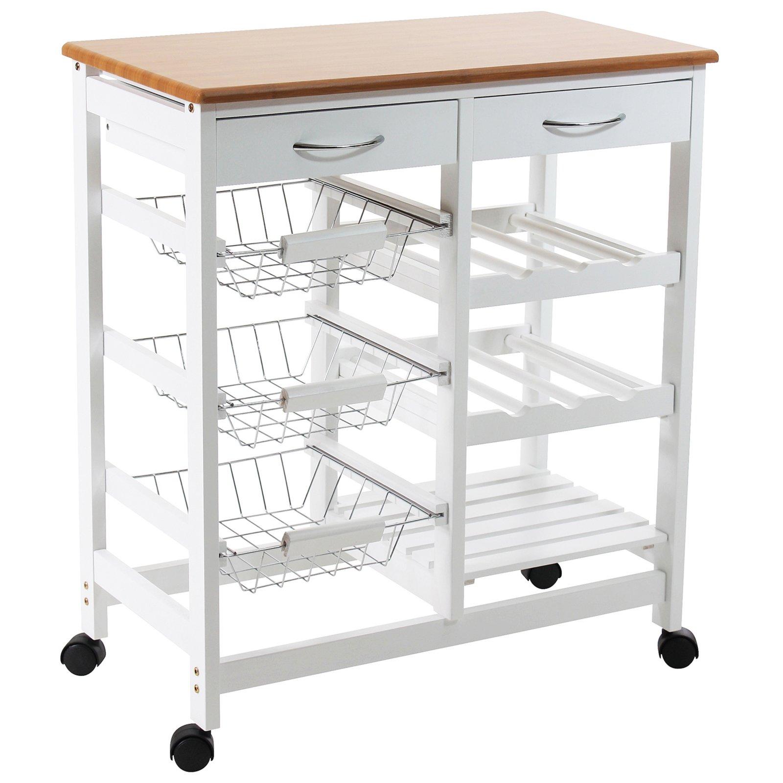 Küchenwagen - Kiefer massiv - weiß | Küchenhelfer | Haushalts ...