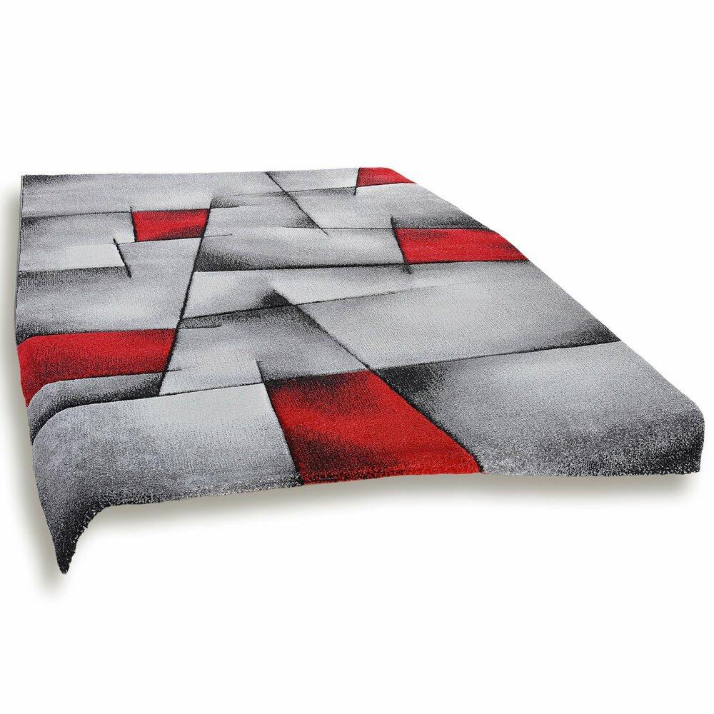 frisee teppich modern grau rot 160x230 cm gemusterte teppiche teppiche l ufer deko. Black Bedroom Furniture Sets. Home Design Ideas