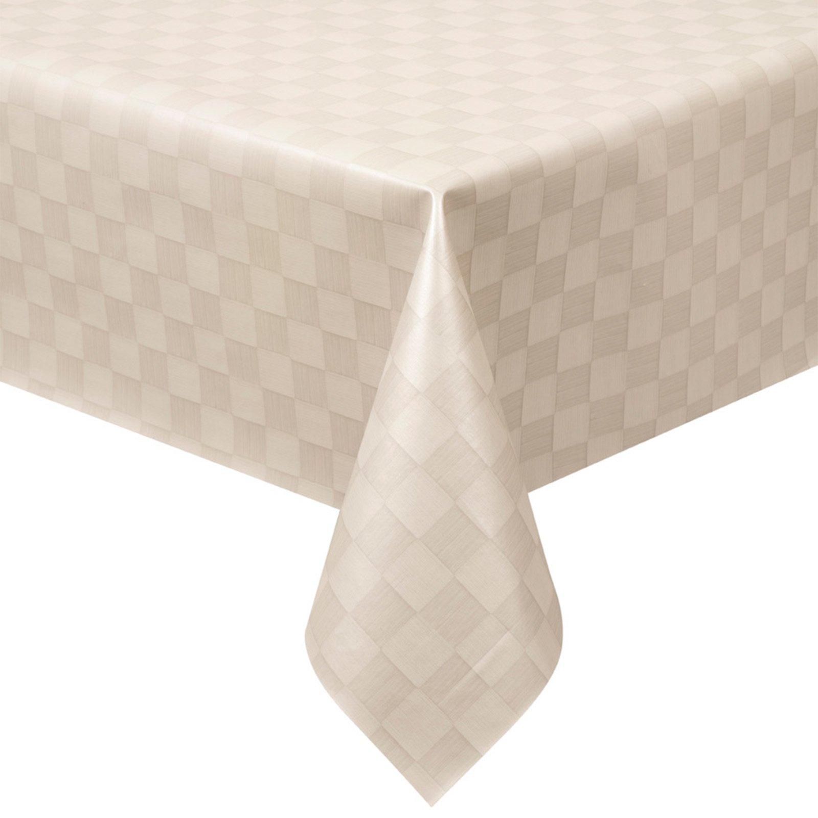 tischdecke damast wei flechtkaro 140 cm breit. Black Bedroom Furniture Sets. Home Design Ideas