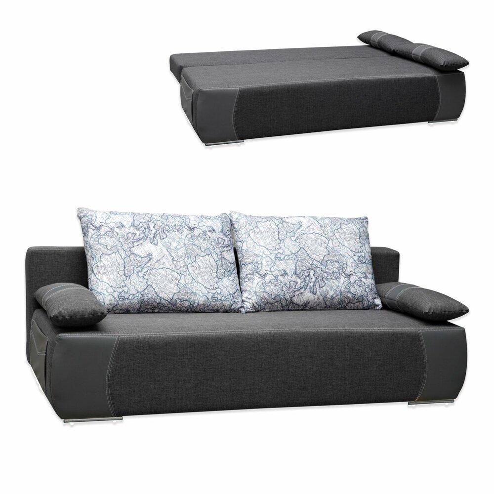 schlafsofa bonellfederkern grau mit staukasten kissen schlafsofas sofas couches. Black Bedroom Furniture Sets. Home Design Ideas