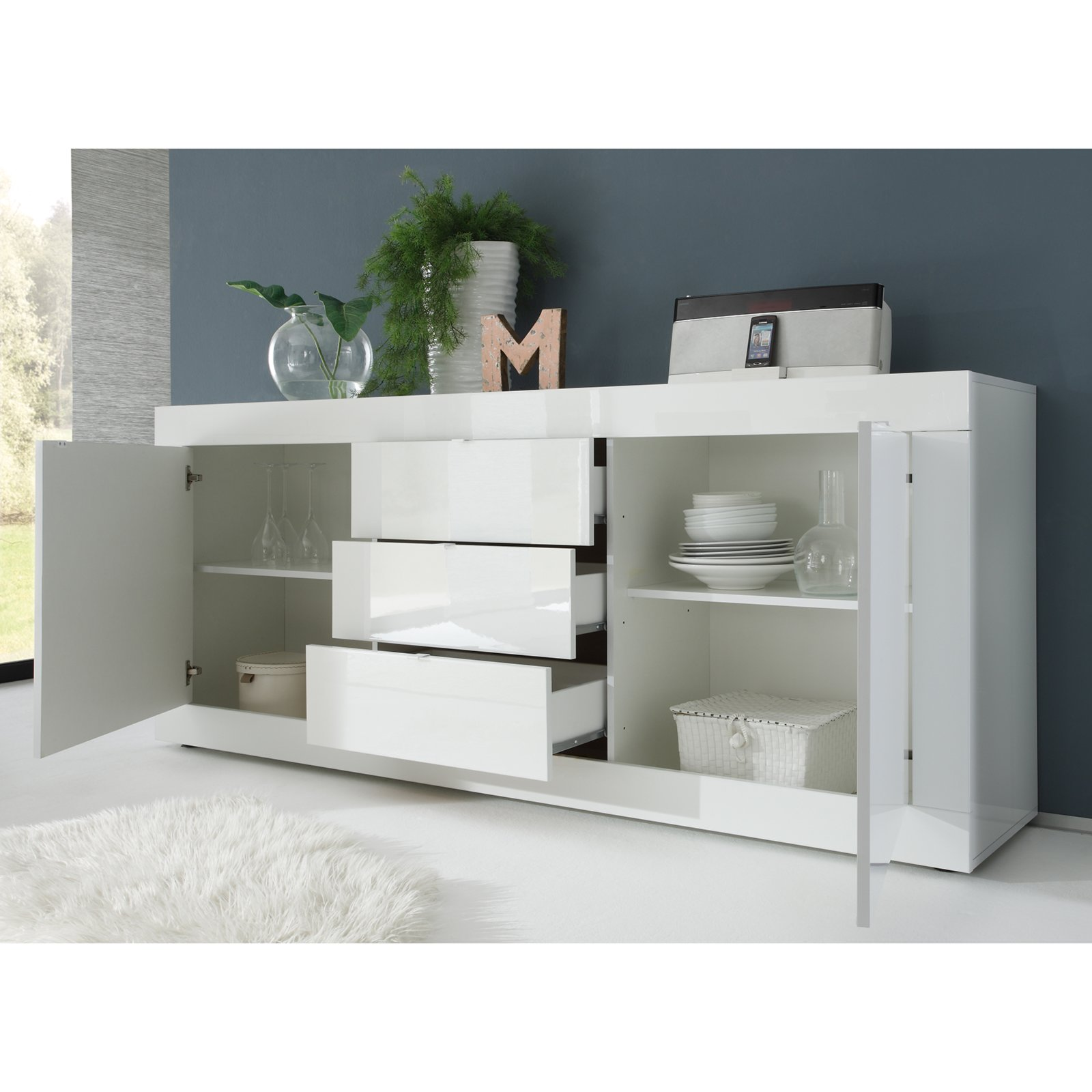 Sympathisch Sideboard Grau Weiß Referenz Von Basic - Weiß Hochglanz - 210 Cm