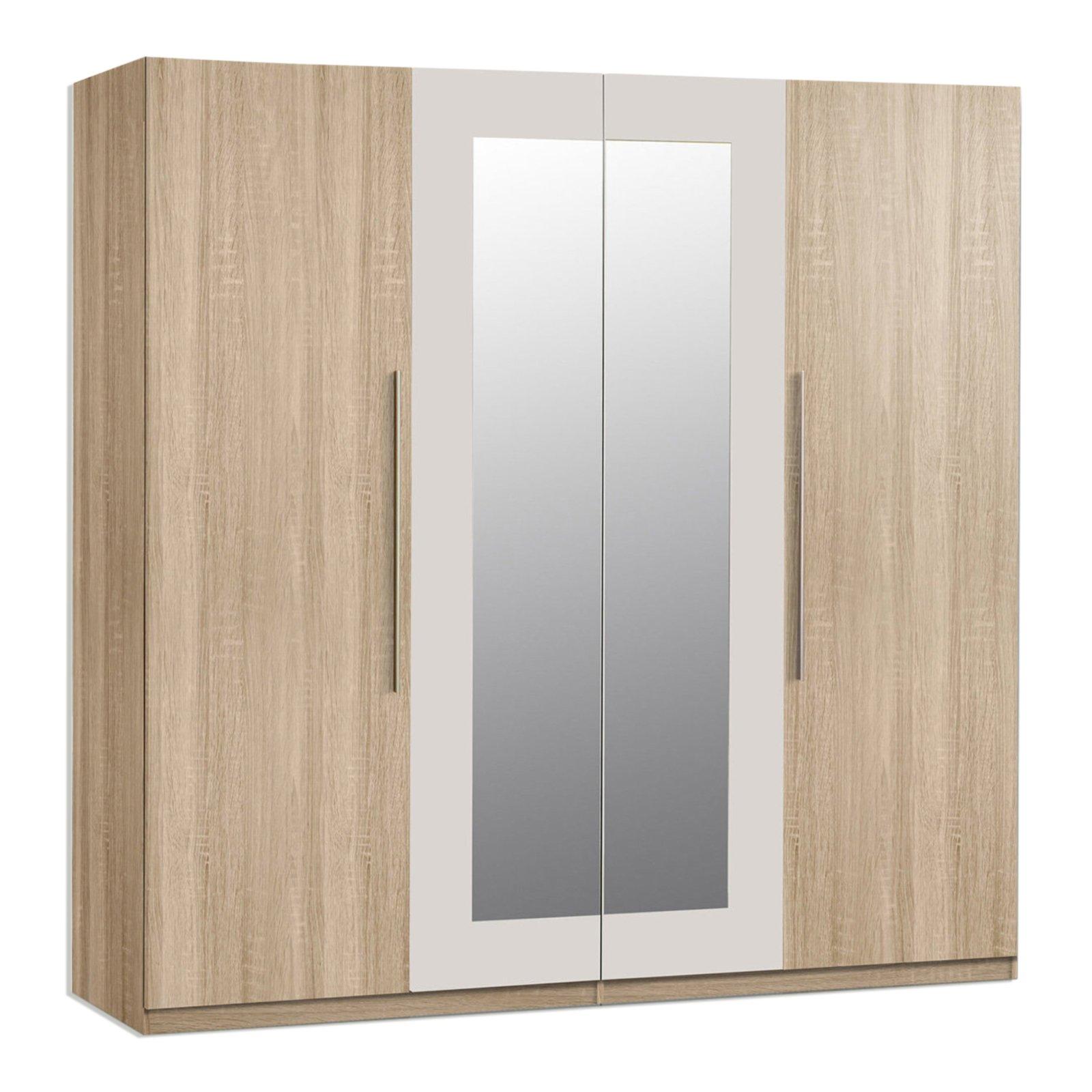 kleiderschrank eiche sonoma spiegel 228 cm online. Black Bedroom Furniture Sets. Home Design Ideas