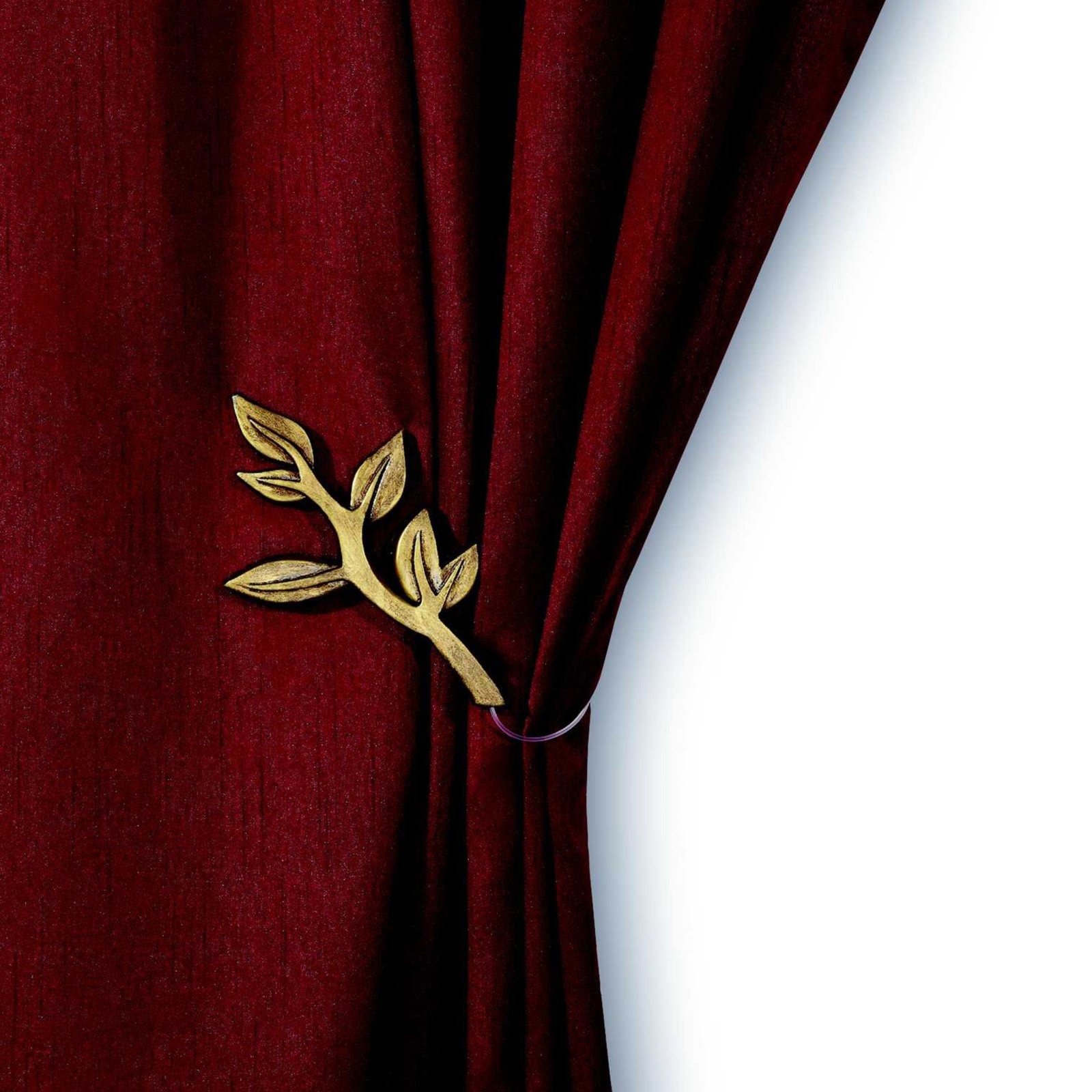 Raffhalter mit Mag  gold antik   Blattform | Raffhalter