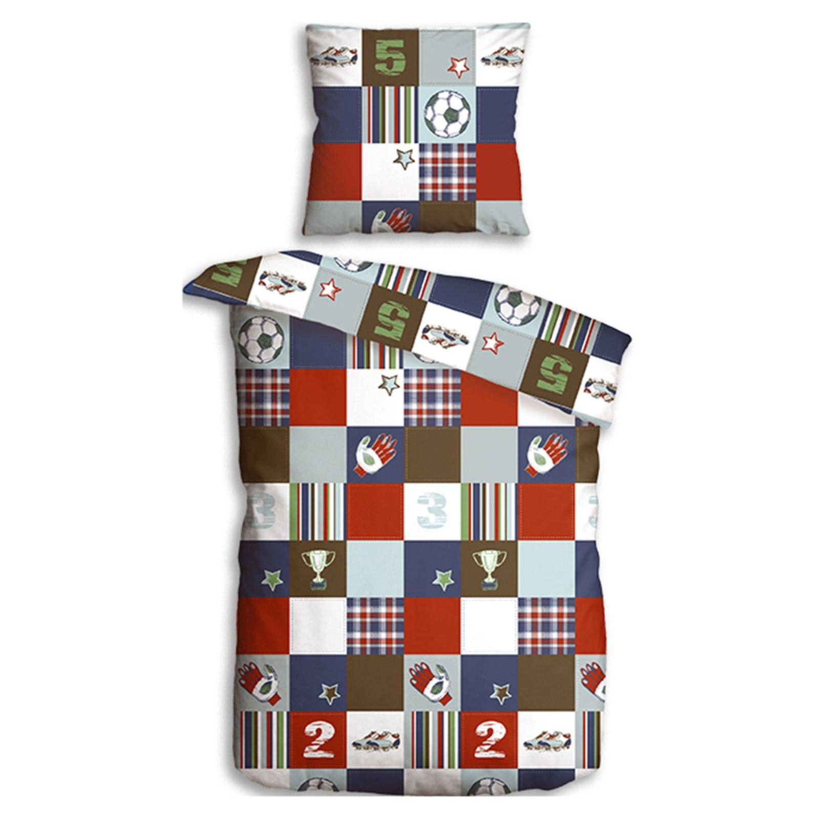 microfaser bettw sche fu ball bunt 135x200 cm kinderbettw sche bettw sche bettlaken. Black Bedroom Furniture Sets. Home Design Ideas