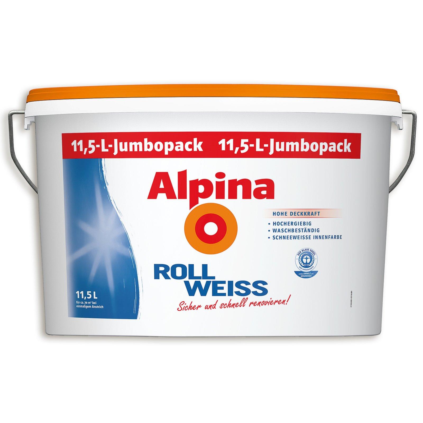 alpina roll wei innenfarbe jumbopack 11 5 liter wei e innenfarben farben lacke. Black Bedroom Furniture Sets. Home Design Ideas
