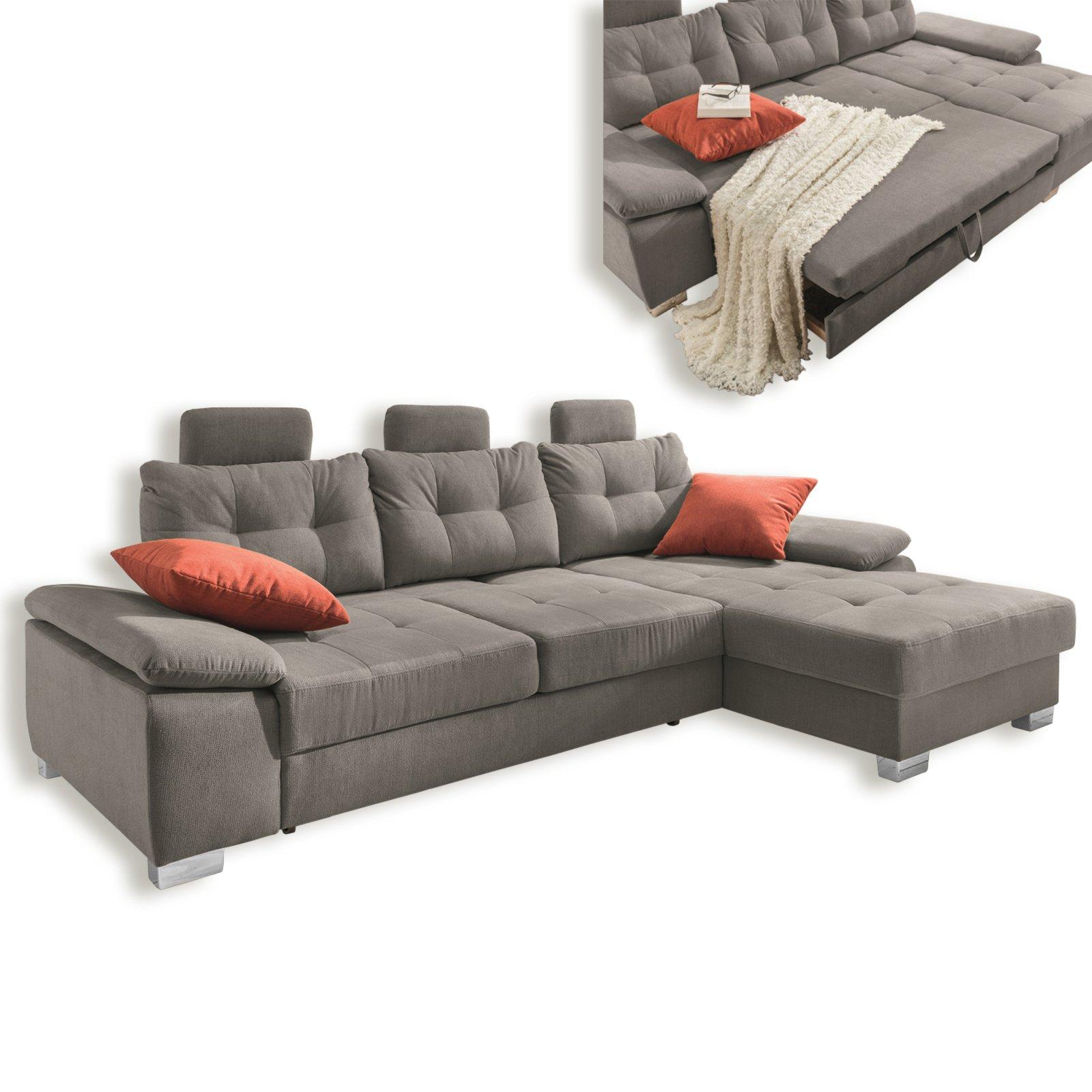 ecksofa grau mit funktionen recamiere rechts ecksofas l form sofas couches m bel. Black Bedroom Furniture Sets. Home Design Ideas