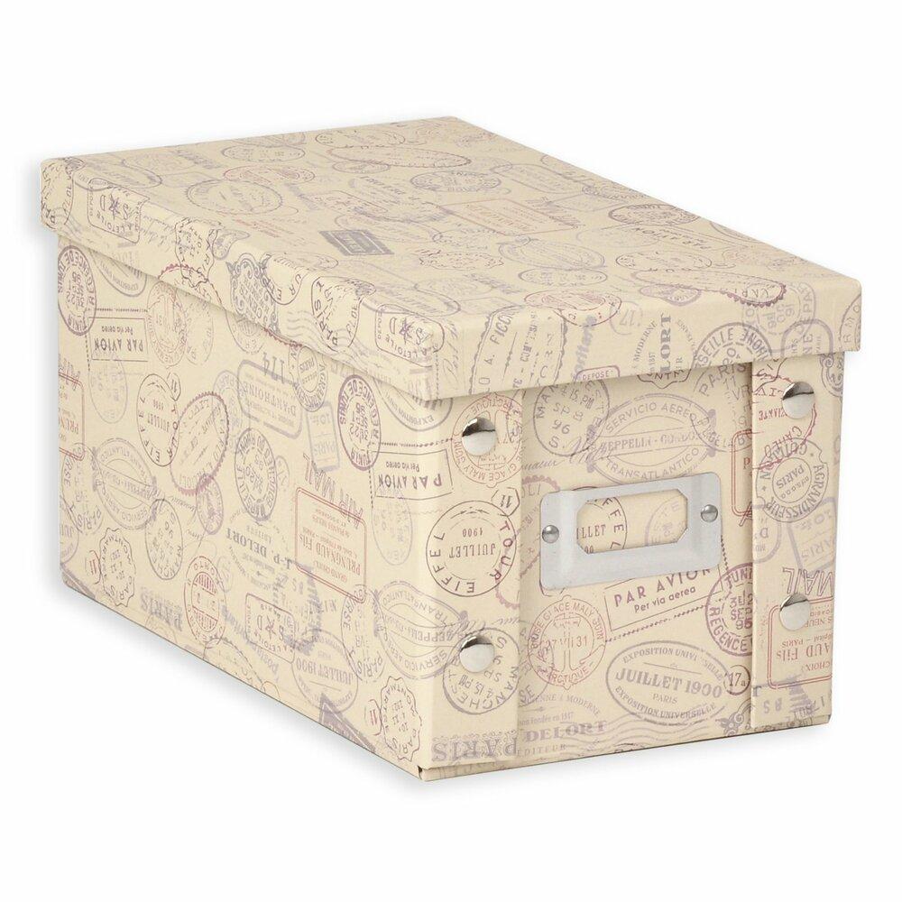 cd aufbewahrungsbox stamps pappe 16x15 cm dekorative boxen k rbe boxen k rbe. Black Bedroom Furniture Sets. Home Design Ideas