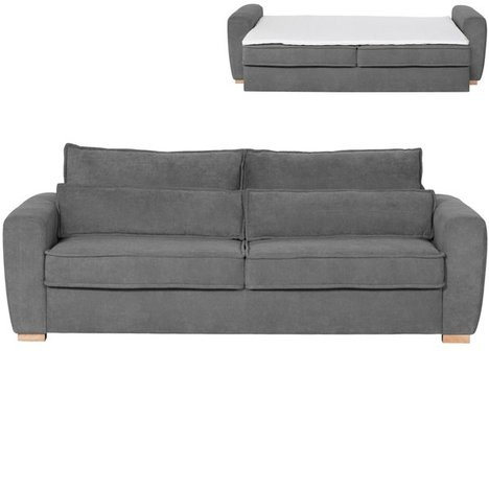 schlafsofa dunkelgrau mit topper dauerschl fer boxspringsofas sofas couches m bel. Black Bedroom Furniture Sets. Home Design Ideas