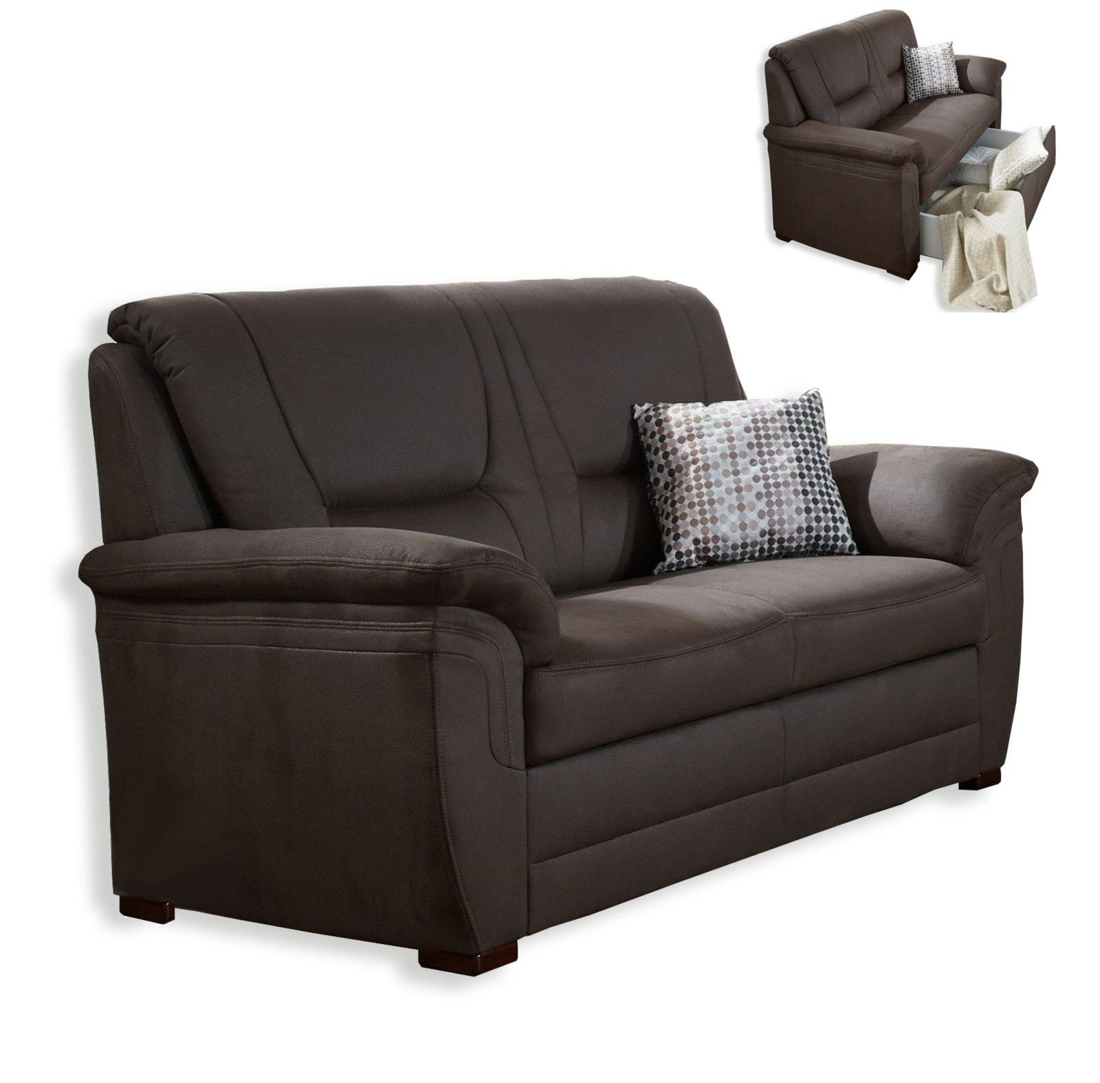 2 sitzer sofa braun mit staukasten bonellfederkern