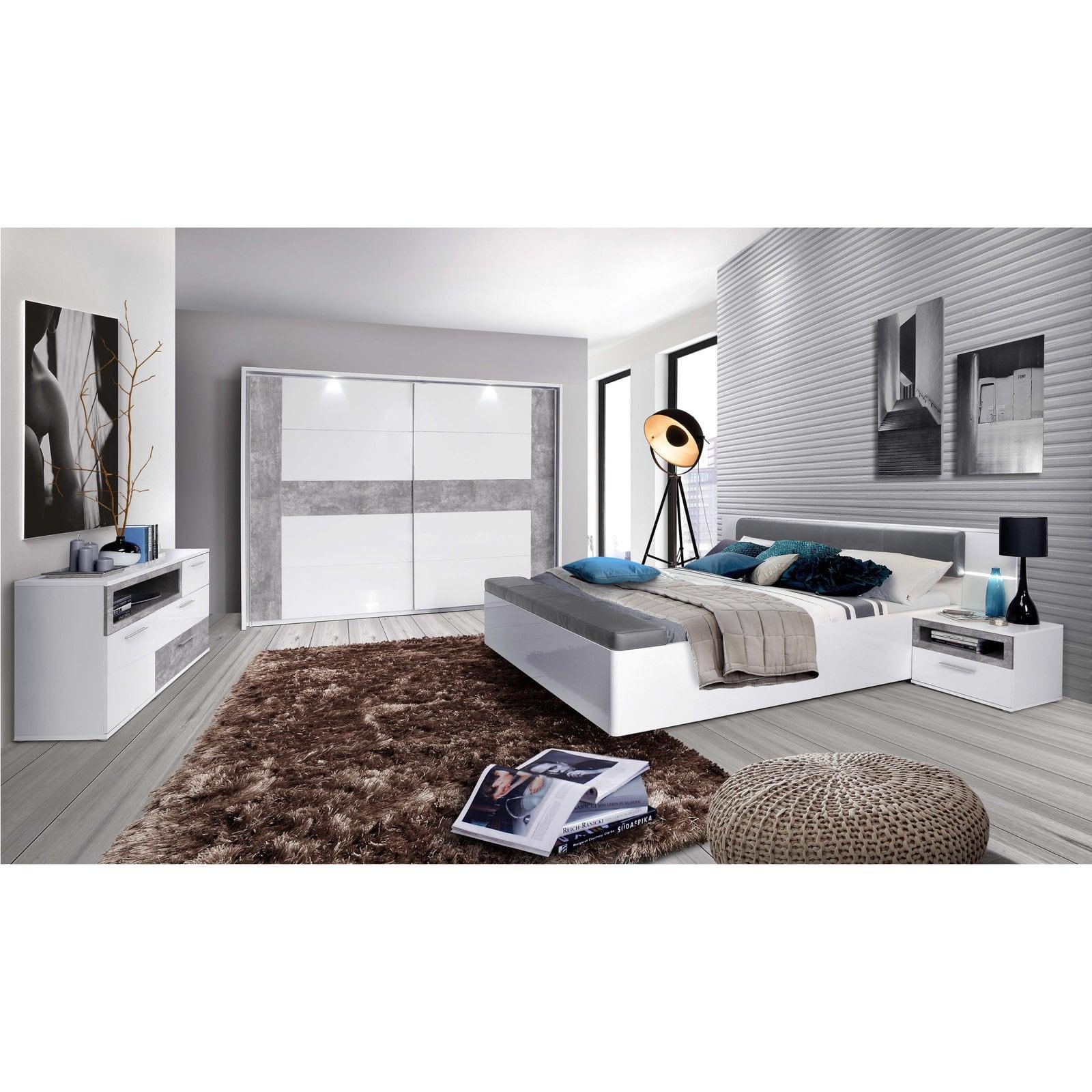 Ella@HOME Bett - grau-weiß Hochglanz - Kunstleder - Beleuchtung - Fußbank -  180x200 cm