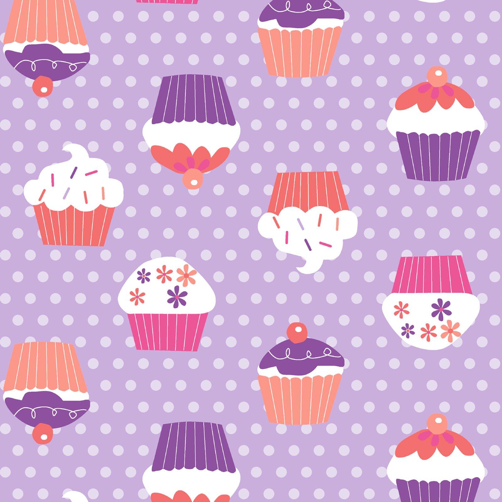 stoff lila cupcakes meterware stoffe meterware heimtextilien deko haushalt. Black Bedroom Furniture Sets. Home Design Ideas