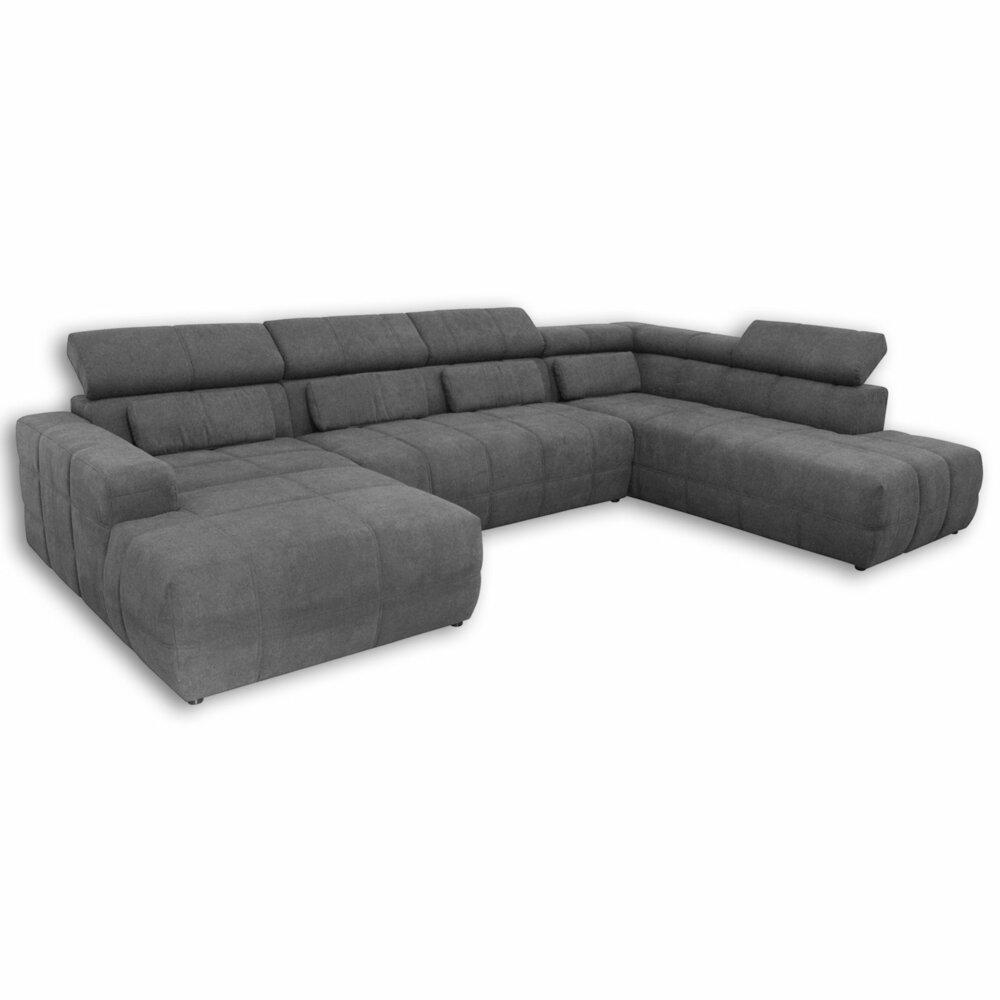 wohnlandschaft dunkelgrau r ckenfunktion ottomane. Black Bedroom Furniture Sets. Home Design Ideas