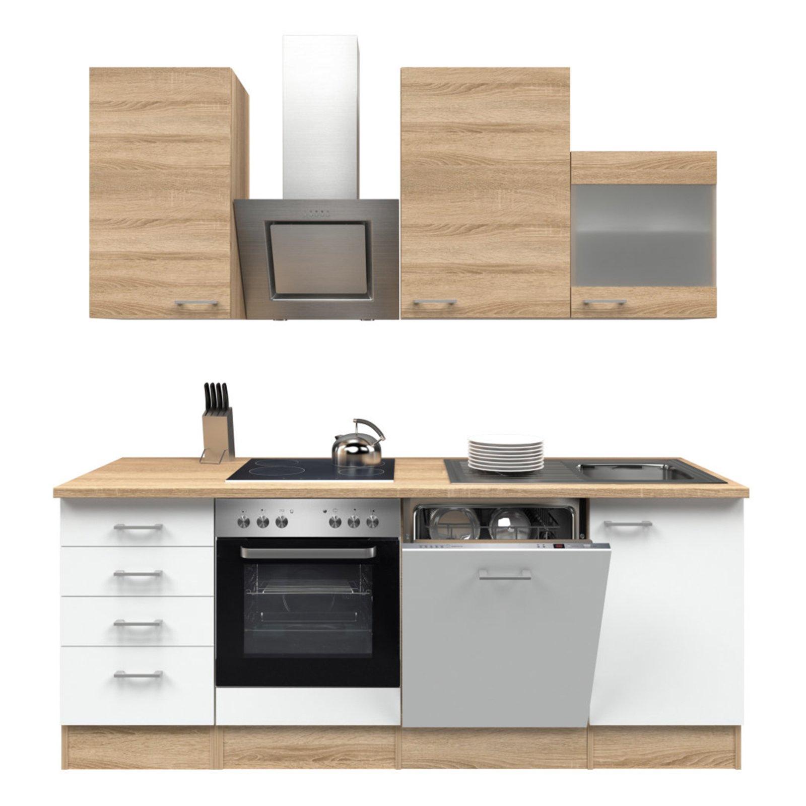 k chenblock samoa wei sonoma eiche mit e ger ten 220 cm k chenzeilen mit e ger ten. Black Bedroom Furniture Sets. Home Design Ideas