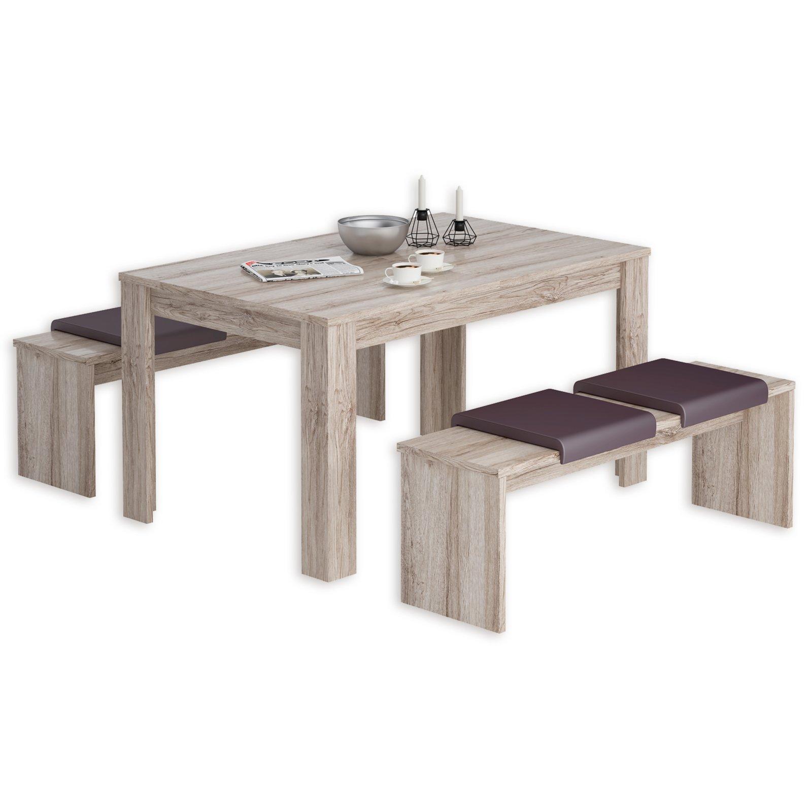 3 teilige tischgruppe dijon sandeiche essgruppen. Black Bedroom Furniture Sets. Home Design Ideas