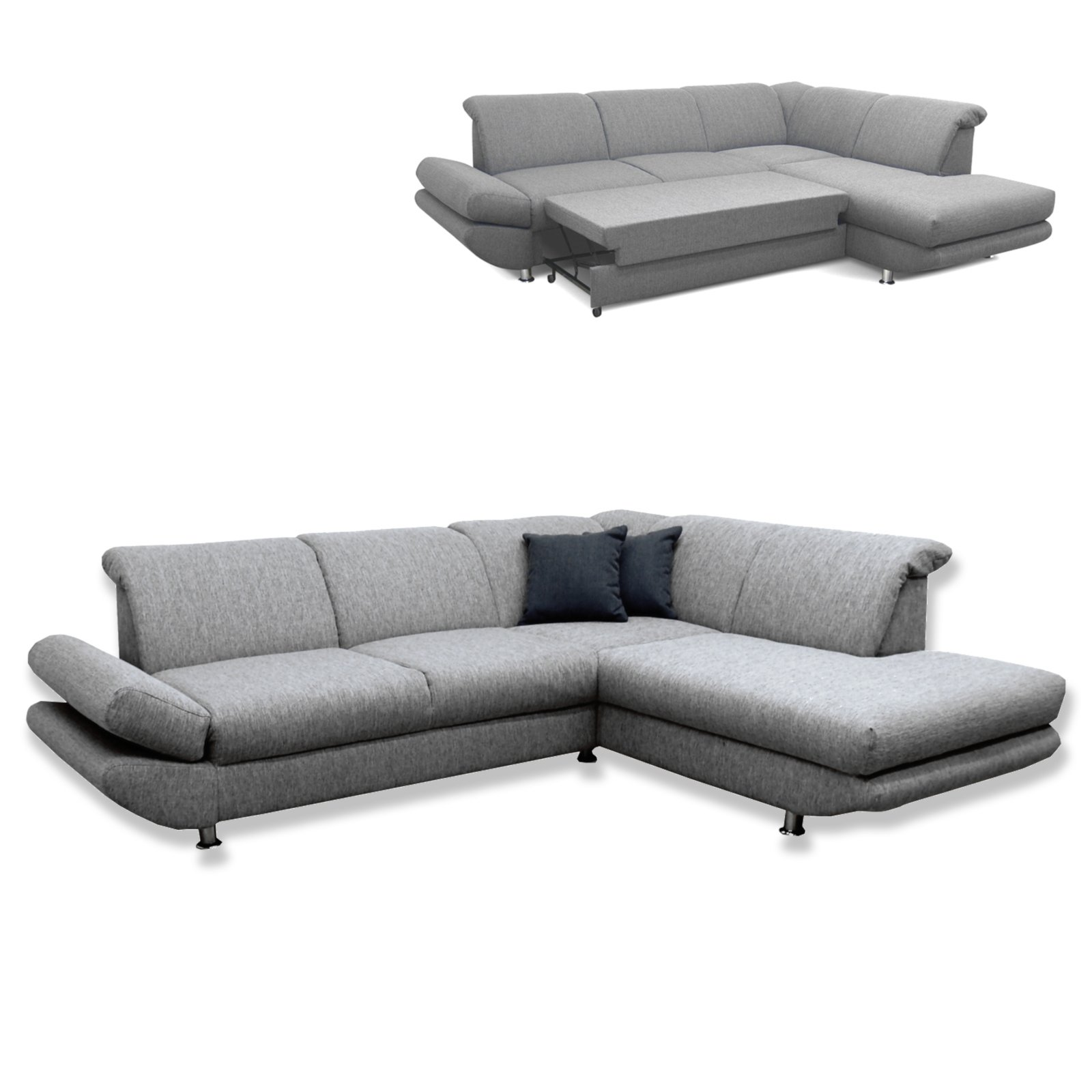 polsterecke silber grau liegefunktion ottomane rechts ecksofas l form sofas couches. Black Bedroom Furniture Sets. Home Design Ideas