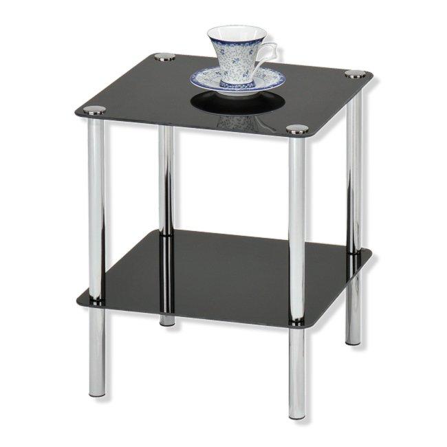 Beistelltisch gc0107 2 glasplatten schwarz beistell for Beistelltisch roller