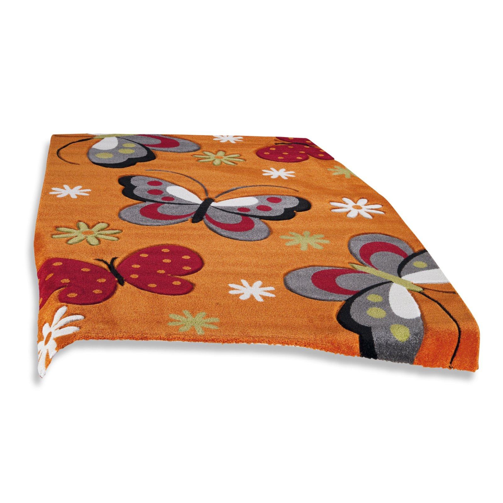 teppich modern diamond orange schmetterlinge 80x150 cm gemusterte teppiche teppiche. Black Bedroom Furniture Sets. Home Design Ideas