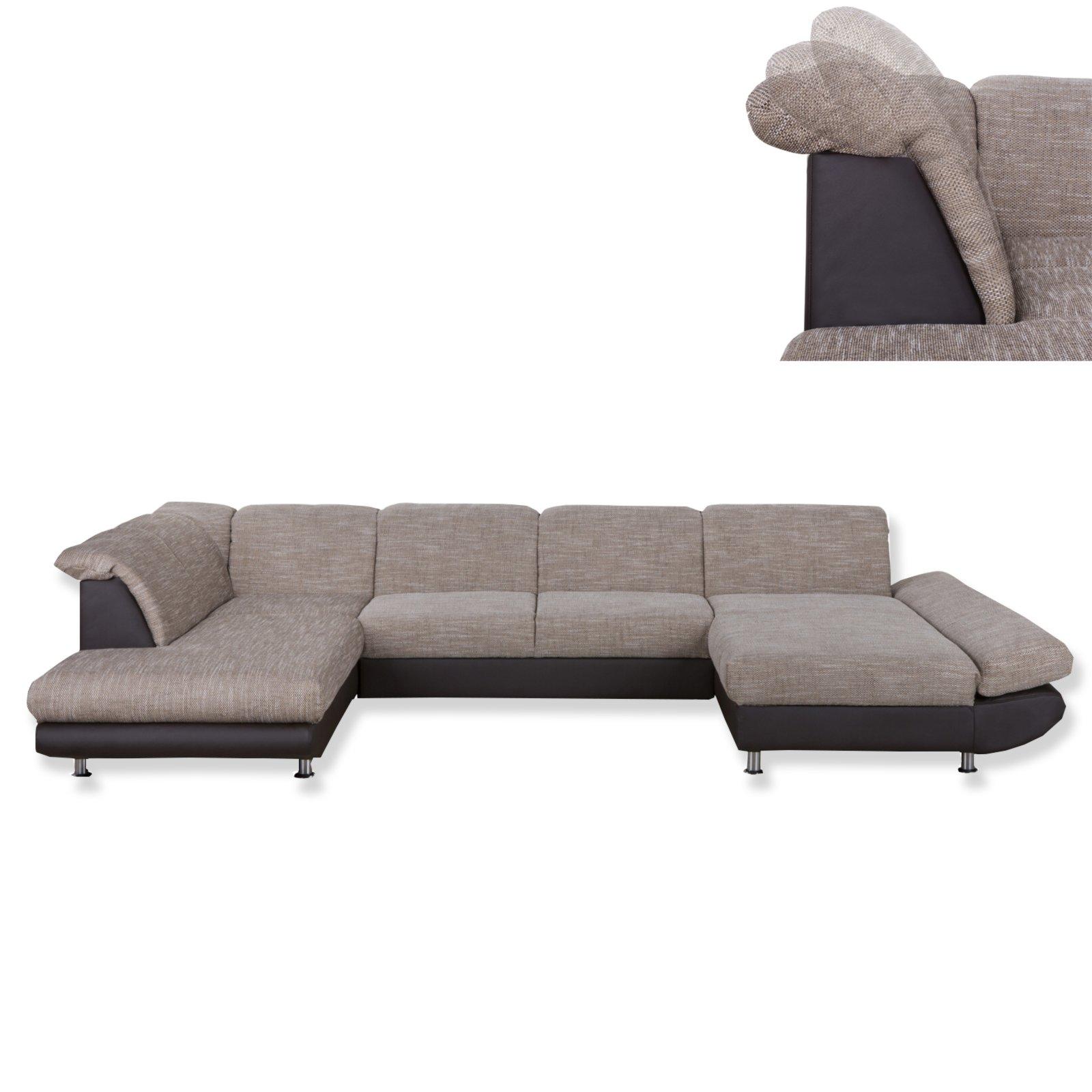 wohnlandschaft dunkelbraun beige mit funktionen. Black Bedroom Furniture Sets. Home Design Ideas