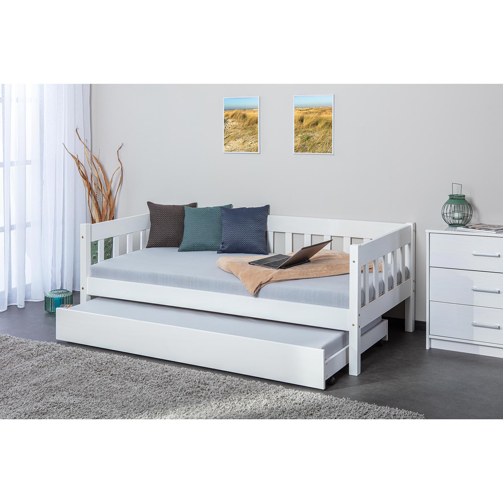 Bett SINTRO - weiß - Kiefer massiv - 90x200 cm | Online ...