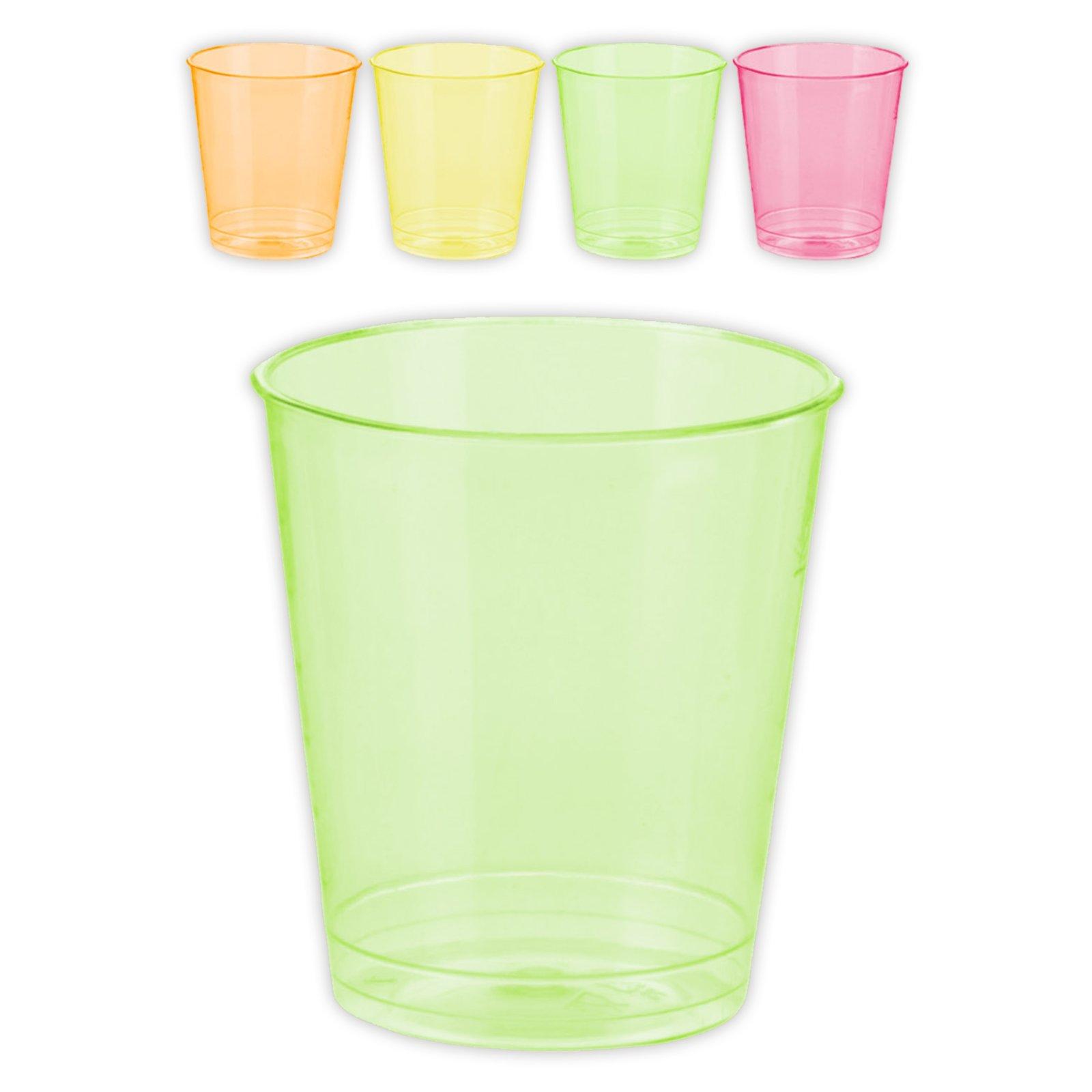 32 Einweg-Schnapsgläser - Kunststoff 4 Farben